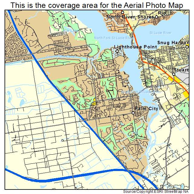 Aerial Photography Map Of Palm City Fl Florida