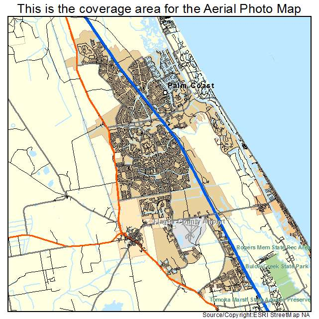 Palm Coast Florida Map.Aerial Photography Map Of Palm Coast Fl Florida