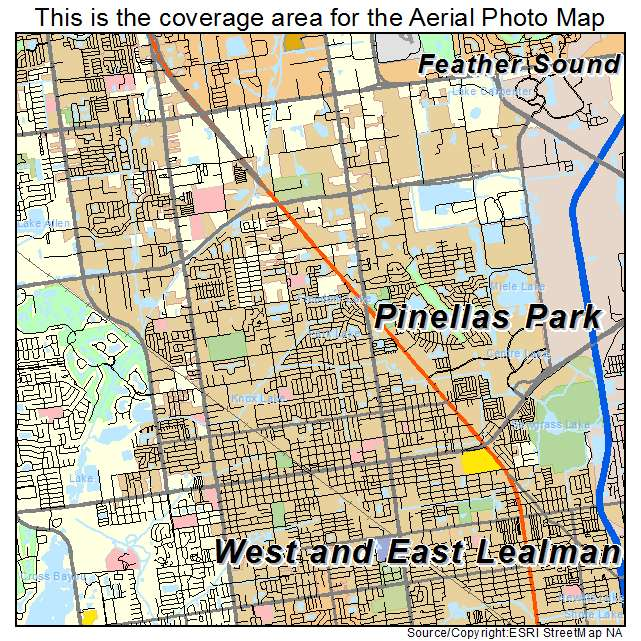 Aerial Photography Map Of Pinellas Park, FL Florida