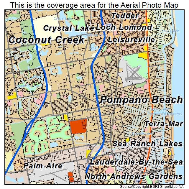 Map Of Pompano Beach Florida.Aerial Photography Map Of Pompano Beach Fl Florida