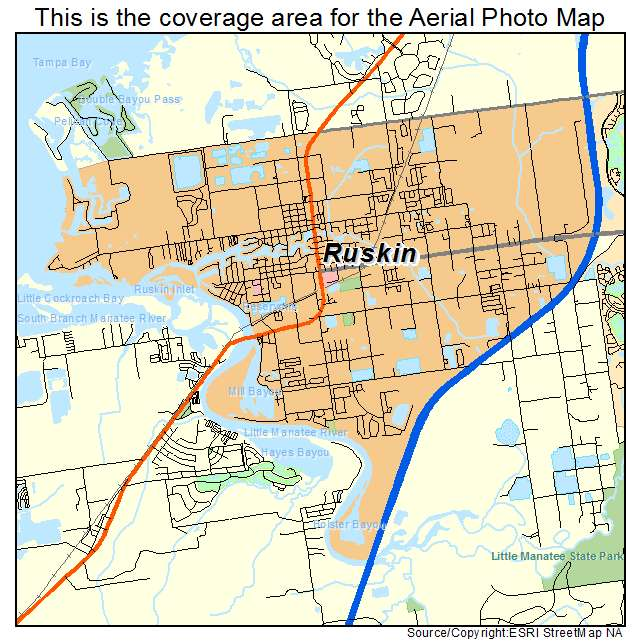 Aerial Photography Map of Ruskin, FL Florida