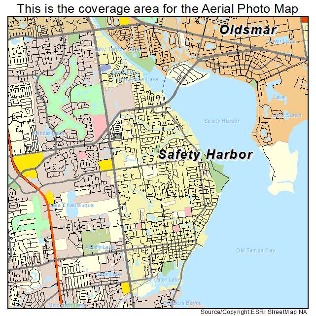 Safety Harbor Florida Map.Aerial Photography Map Of Safety Harbor Fl Florida