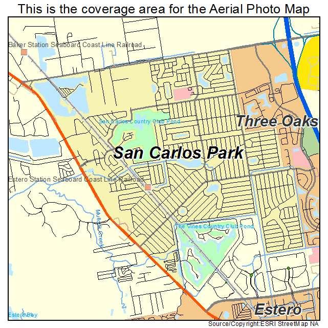 Aerial Photography Map Of San Carlos Park Fl Florida