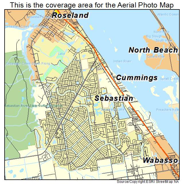 Aerial Photography Map of Sebastian, FL Florida