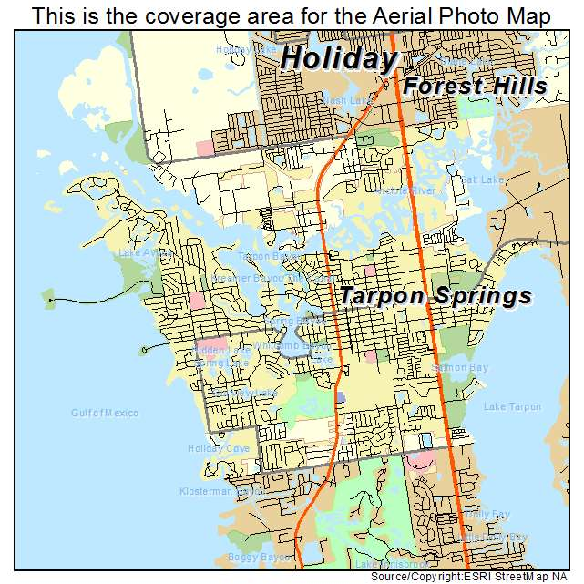 Aerial Photography Map Of Tarpon Springs Fl Florida