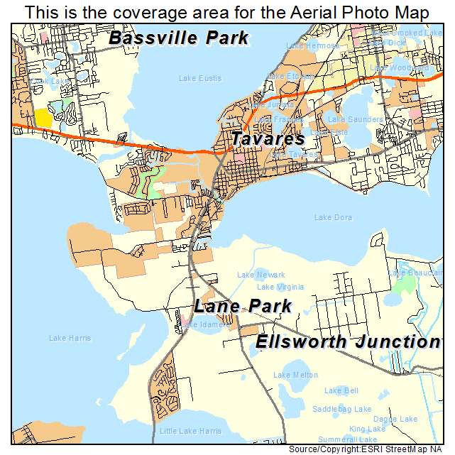 aerial photography map of tavares fl florida