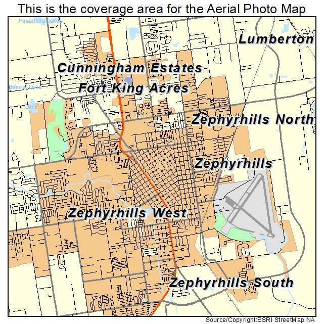 Aerial Photography Map of Zephyrhills, FL Florida on