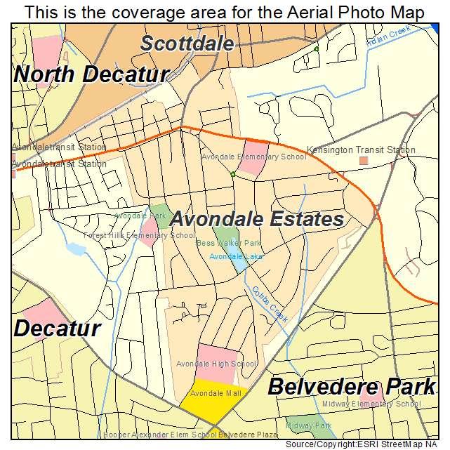 Aerial Photography Map of Avondale Estates GA Georgia