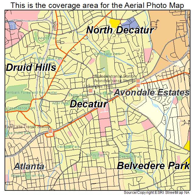 Aerial Photography Map Of Decatur Ga Georgia