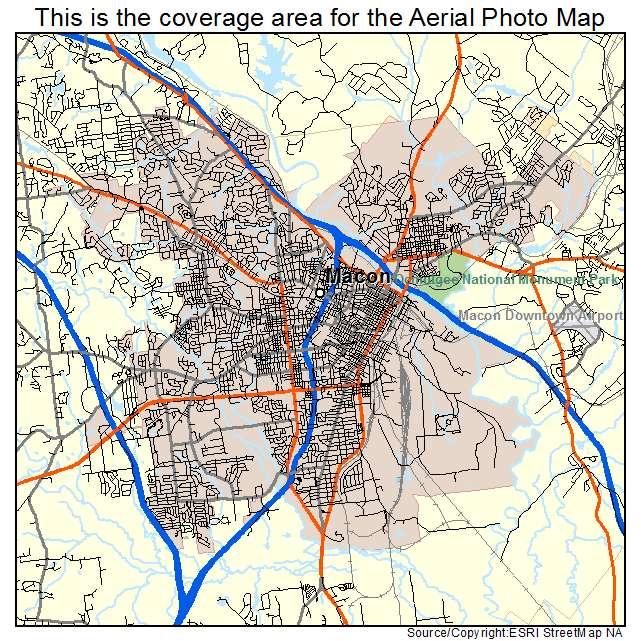 Aerial Photography Map of Macon GA Georgia