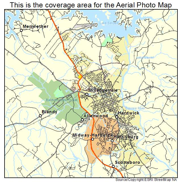 Aerial Photography Map Of Milledgeville GA Georgia - Georgia map milledgeville