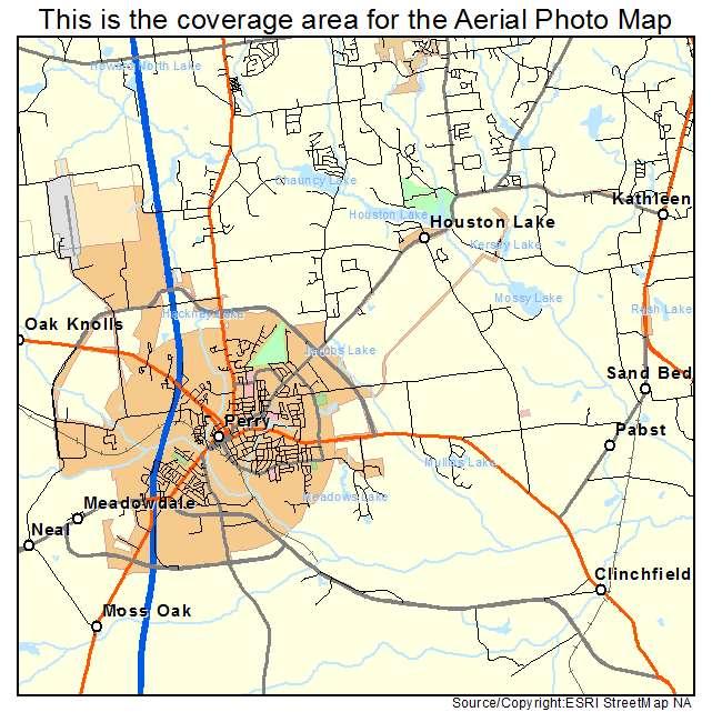 Aerial Photography Map Of Perry GA Georgia
