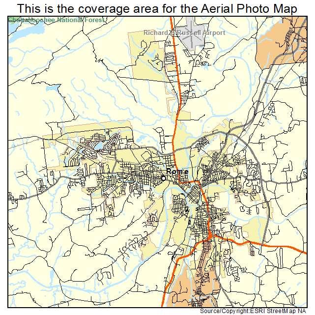 Aerial Photography Map of Rome, GA Georgia on