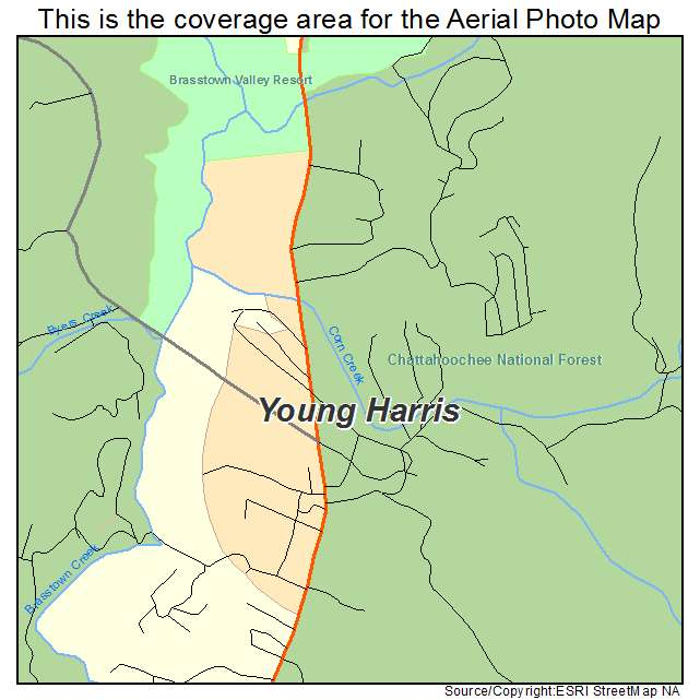 Map Of Young Harris Georgia.Aerial Photography Map Of Young Harris Ga Georgia