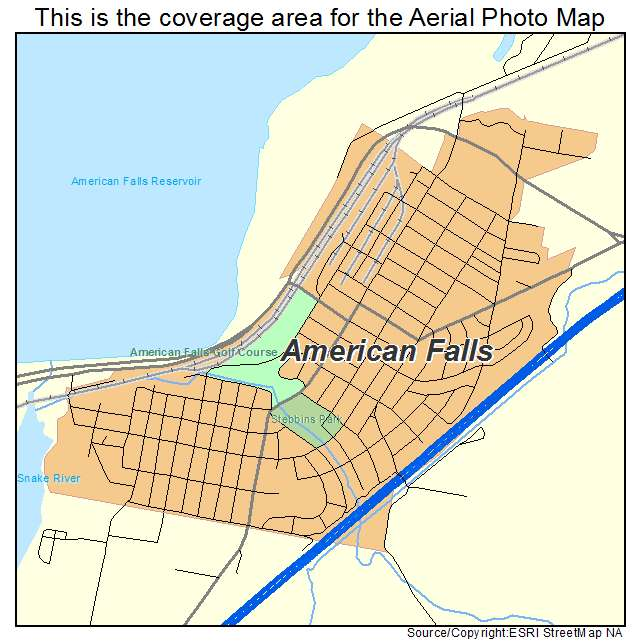 Aerial Photography Map of American Falls ID Idaho