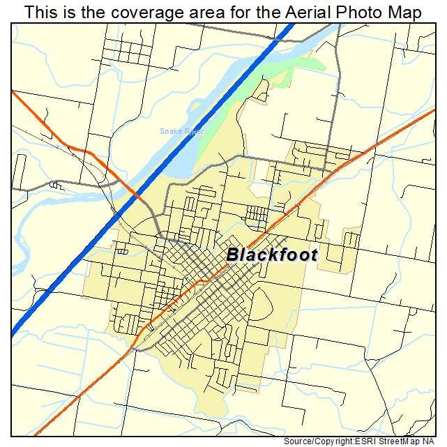 Aerial Photography Map Of Blackfoot ID Idaho