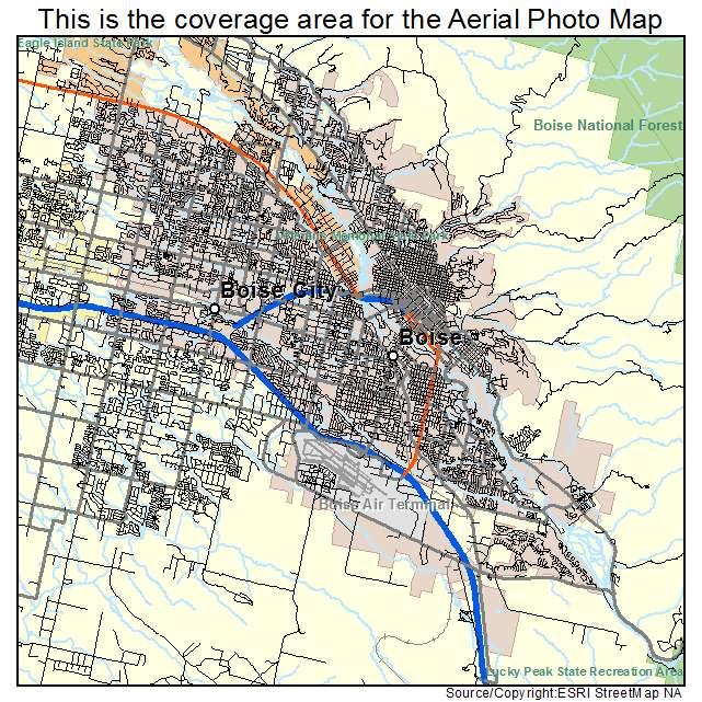 Aerial Photography Map of Boise City ID Idaho