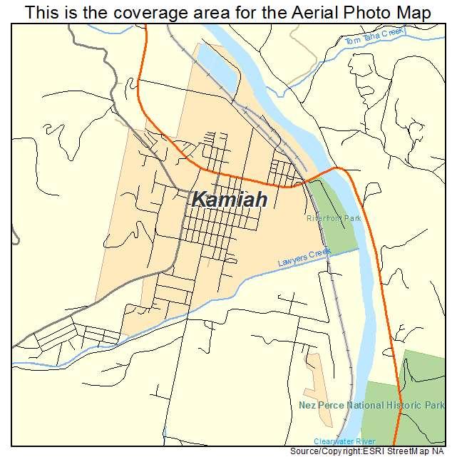 Kamiah, ID location map