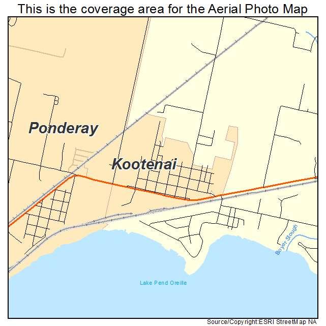 Kootenai, ID location map