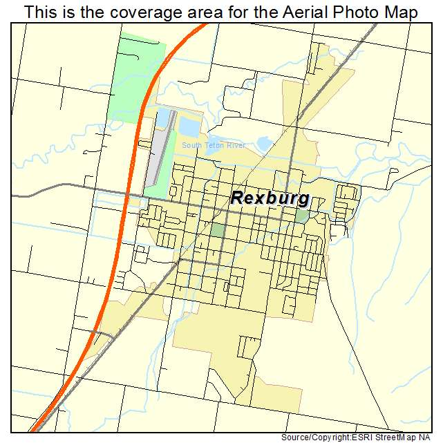 Aerial Photography Map of Rexburg ID Idaho