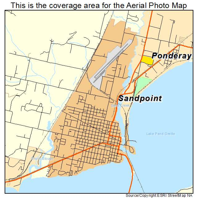 aerial photography map of sandpoint id idaho