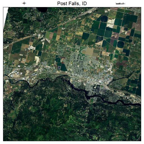 Aerial Photography Map Of Post Falls ID Idaho