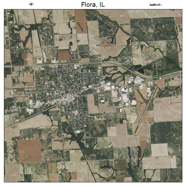 Aerial Photography Map Of Flora Il Illinois