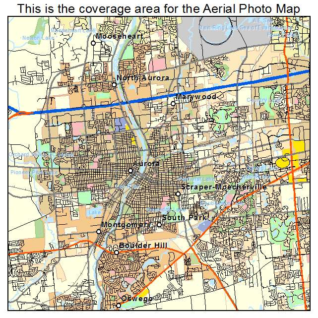 Aerial Photography Map Of Aurora Il Illinois