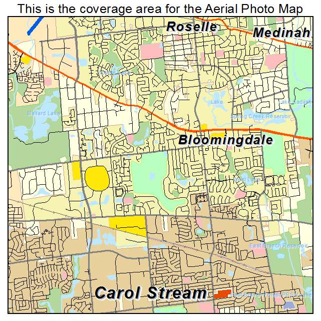 Aerial Photography Map Of Bloomingdale Il Illinois