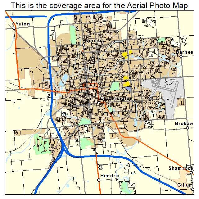 Bloomington, IL Illinois Aerial Photography Map 2015 on