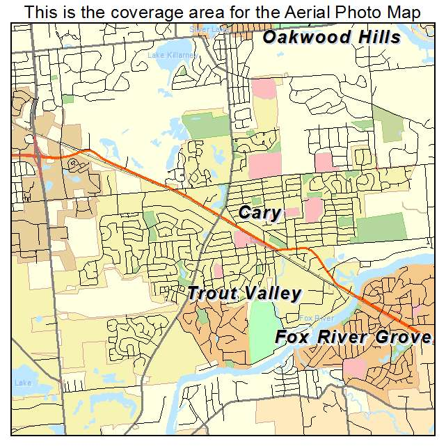 Aerial Photography Map of Cary, IL Illinois
