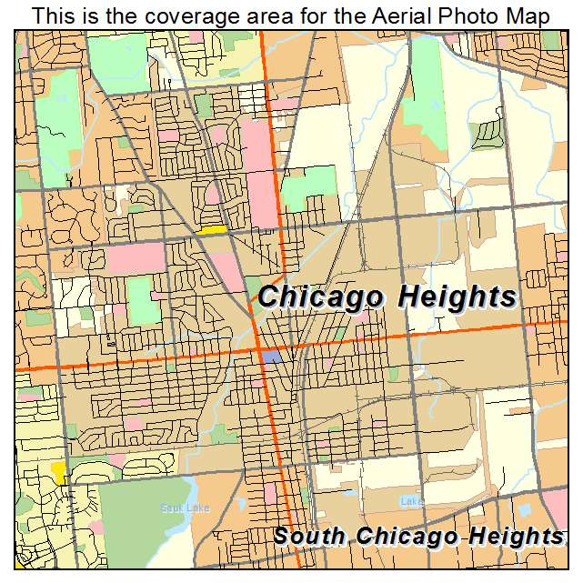 Aerial Photography Map Of Chicago Heights IL Illinois