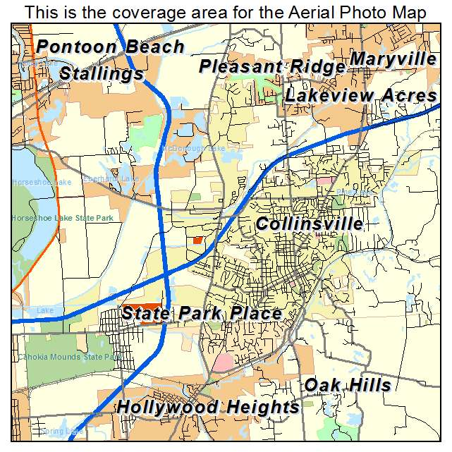 Aerial Photography Map of Collinsville, IL Illinois