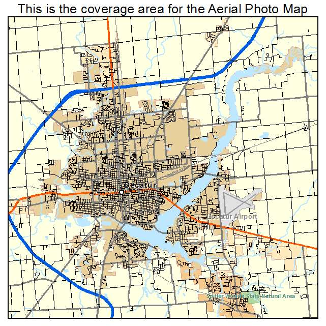 Decatur Illinois Map.Aerial Photography Map Of Decatur Il Illinois