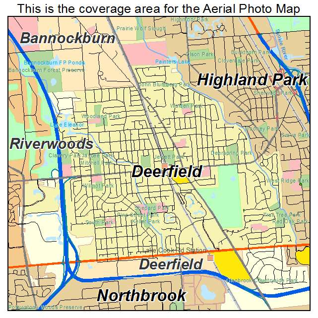 Aerial Photography Map of Deerfield, IL Illinois