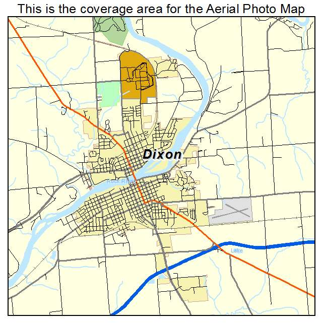 Aerial Photography Map Of Dixon IL Illinois