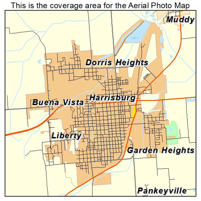 Aerial Photography Map Of Harrisburg IL Illinois