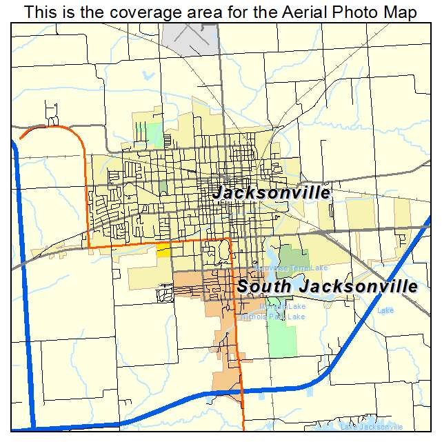aerial photography map of jacksonville il illinois. Black Bedroom Furniture Sets. Home Design Ideas