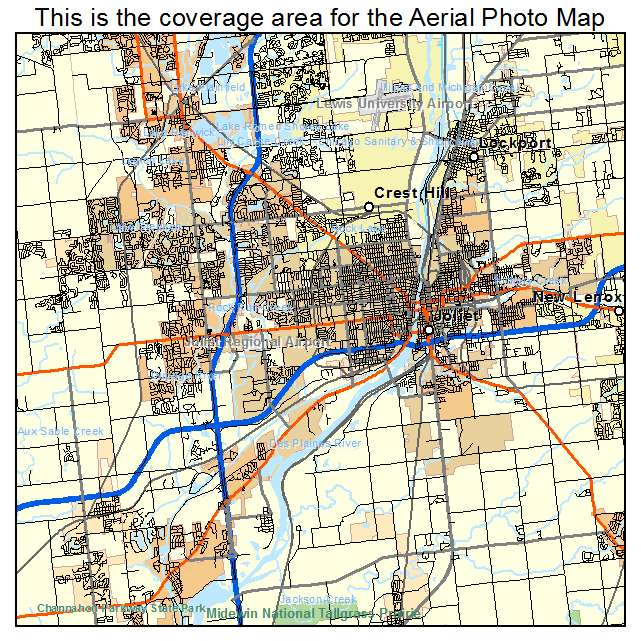 Aerial Photography Map Of Joliet IL Illinois