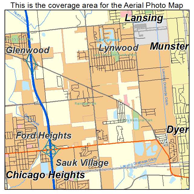 Aerial Photography Map of Lynwood IL Illinois