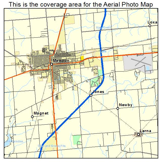 Aerial Photography Map Of Mattoon IL Illinois