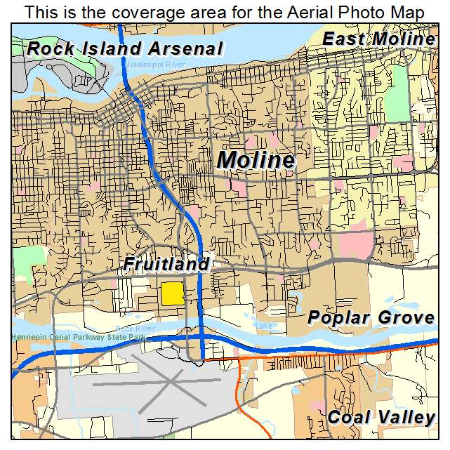 Aerial Photography Map Of Moline IL Illinois
