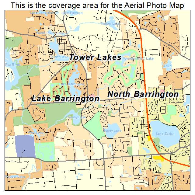 Aerial Photography Map Of North Barrington IL Illinois