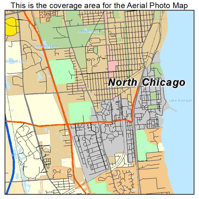 Aerial Photography Map of North Chicago, IL Illinois