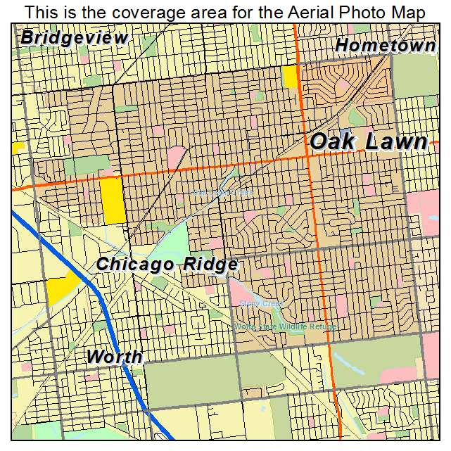 Aerial Photography Map of Oak Lawn IL Illinois