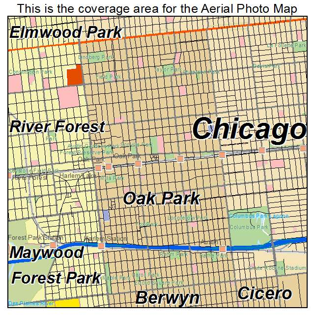 Aerial Photography Map of Oak Park IL Illinois