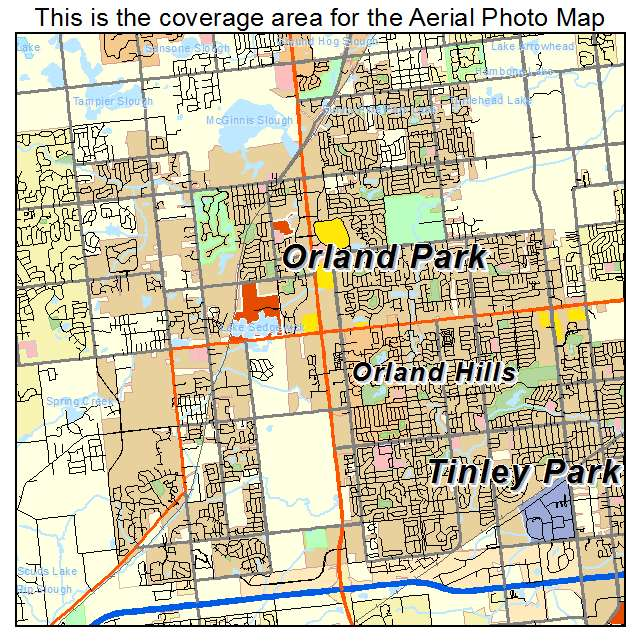 Aerial Photography Map of Orland Park IL Illinois