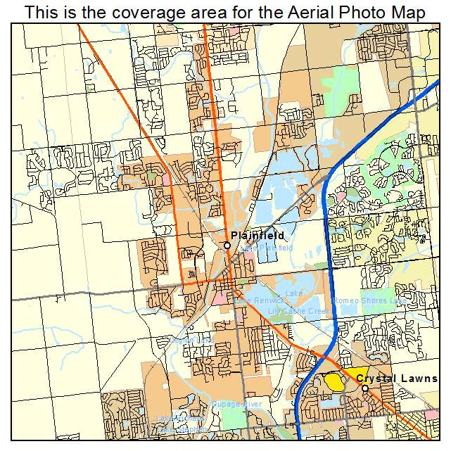 Aerial Photography Map Of Plainfield Il Illinois