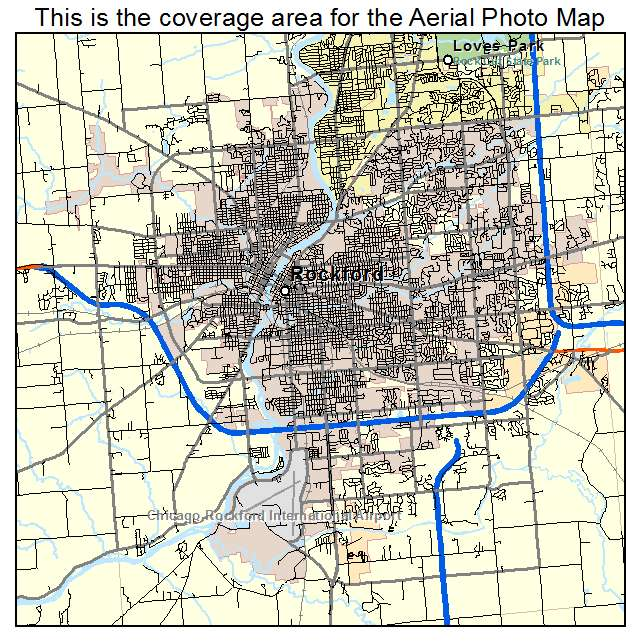 Aerial Photography Map of Rockford IL Illinois