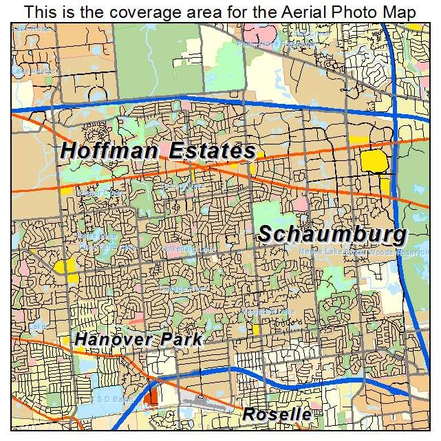 Schaumburg Illinois Map.Aerial Photography Map Of Schaumburg Il Illinois